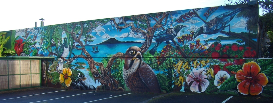mural on carpark wall